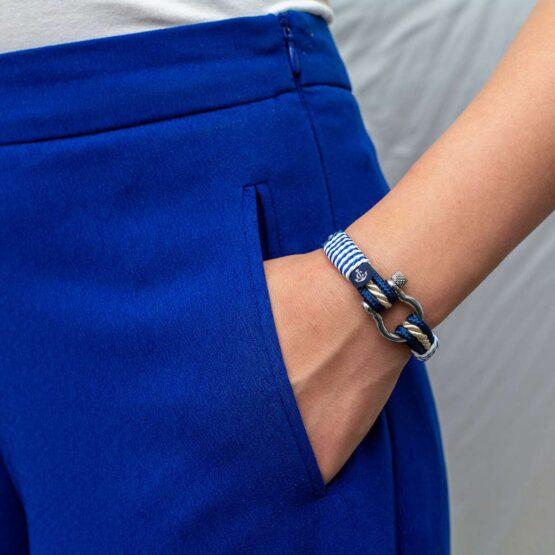 Морской браслет для мужчин и женщин бежево-синего цвета — № 4058 фото 5