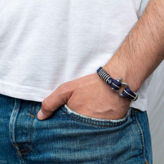 Морской браслет синего цвета с золотыми нитями для мужчин и женщин — № 4068 фото 4