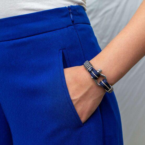 Морской браслет синего цвета с золотыми нитями для мужчин и женщин — № 4068 фото 5