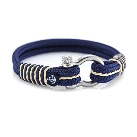 Морской браслет синего цвета с бежевыми нитями — № 4068