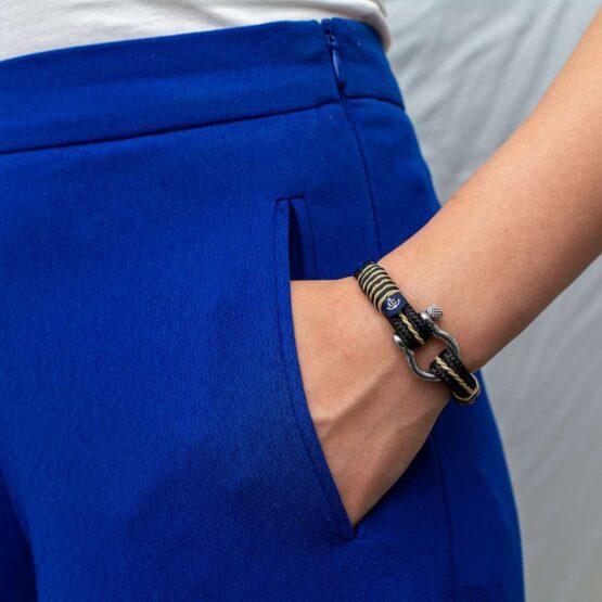 Морской браслет для мужчин и женщин в чёрно-золотом цвете — № 4070 фото 5