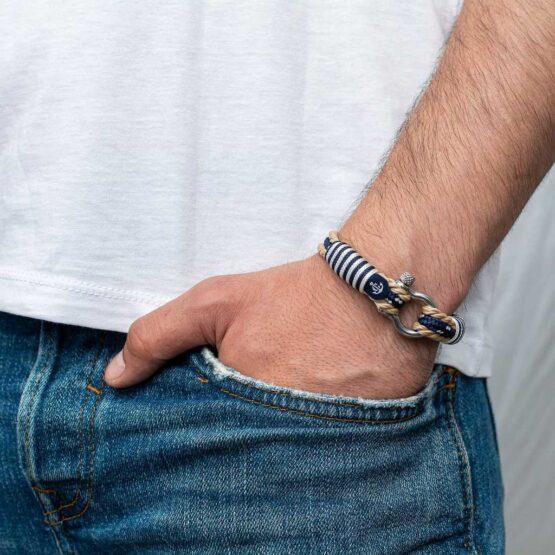 Морской бежевый браслет с синим шнурком для мужчин и женщин — № 5006 фото 4
