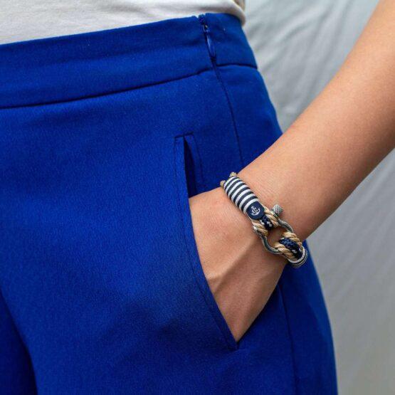 Морской бежевый браслет с синим шнурком для мужчин и женщин — № 5006 фото 5
