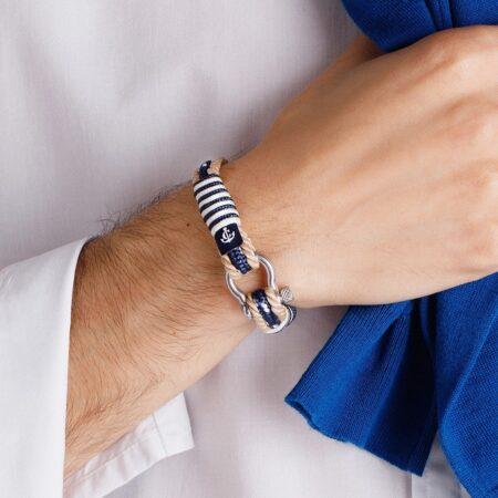Морской бежевый браслет с синим шнурком для мужчин и женщин — № 5006