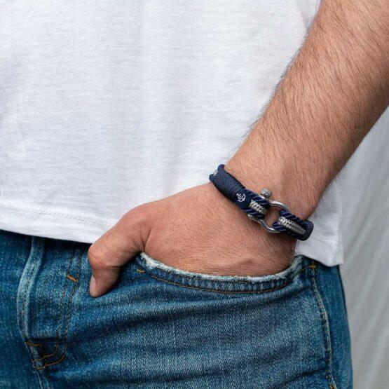 Браслет серо-синего цвета для мужчин и женщин — № 5028 фото 4