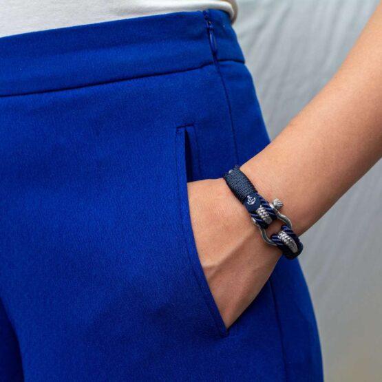 Браслет серо-синего цвета для мужчин и женщин — № 5028 фото 5