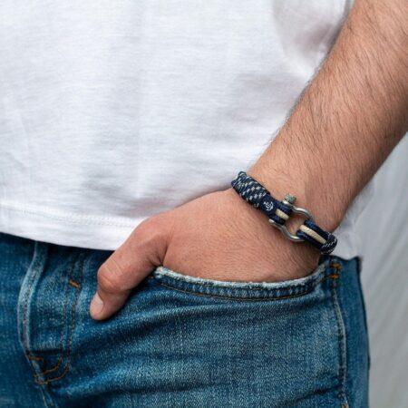 Морской браслет бежево-синего цвета для мужчин и женщин — № 5040 фото3
