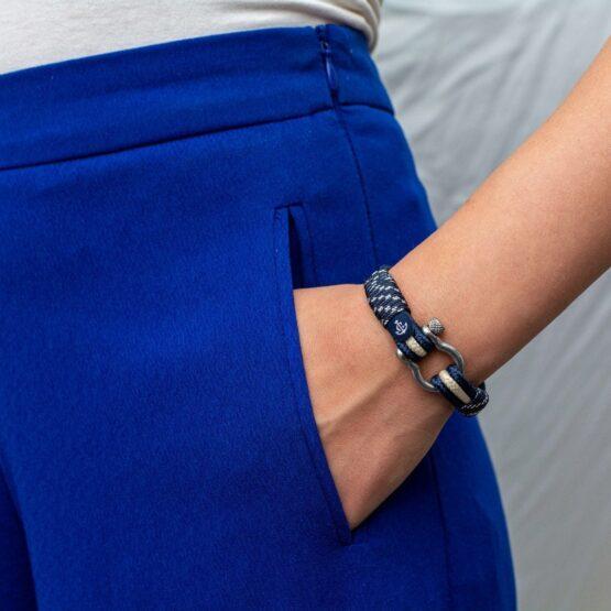 Морской браслет бежево-синего цвета для мужчин и женщин — № 5040 фото2