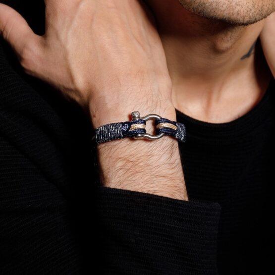 Морской браслет бежево-синего цвета для мужчин и женщин — № 5040