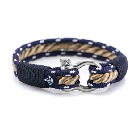 Синий-бежевый браслет морской тематики — № 5068