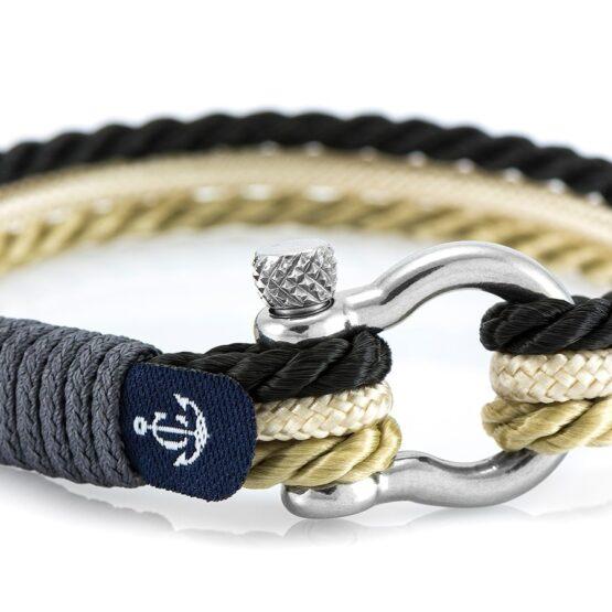 Морской комбинированный бежевый-чёрный браслет — № 5078