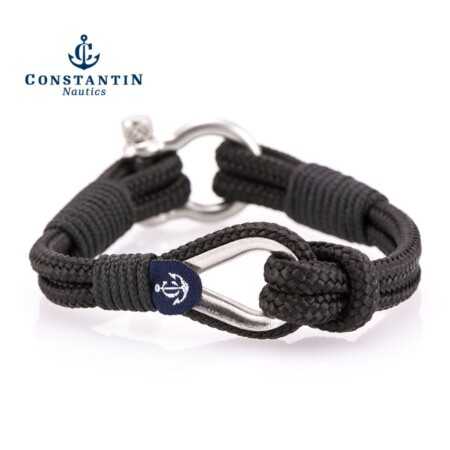 Мужской чёрный браслет морской тематики — № 704