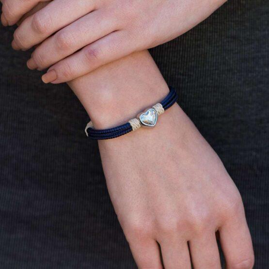 Браслет бежево-синего цвета с кремовым камнем сваровски для женщин — № 7076 фото 5