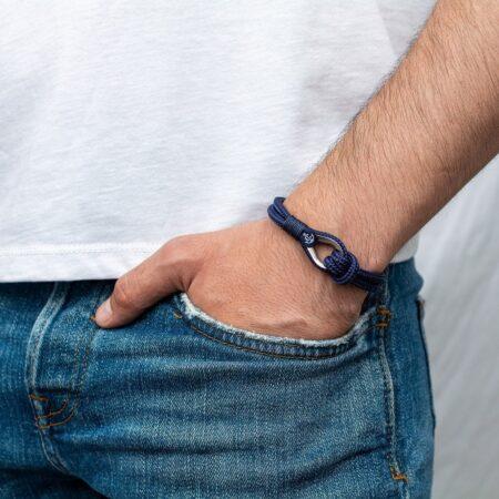Мужской тёмно-синий браслет морской тематики — № 709 фото 4