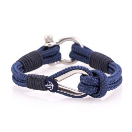 Мужской тёмно-синий браслет морской тематики  — № 709