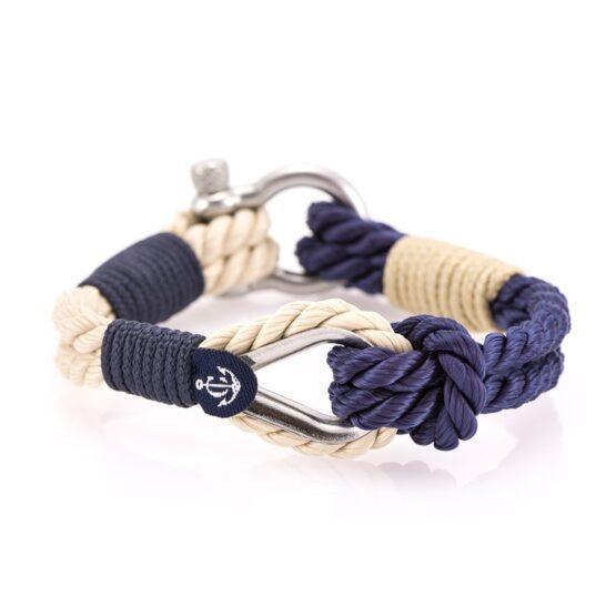 Мужской бежевый-синий браслет морской тематики — № 710