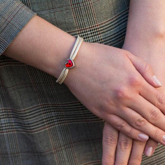 Браслет бежевого цвета с красным камнем сваровски для женщин — № 7107 фото 6