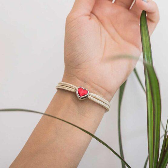 Браслет бежевого цвета с красным камнем сваровски для женщин — № 7107 фото 8