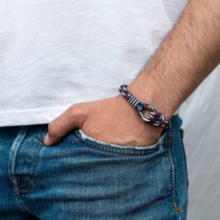 Комбинированный морской мужской браслет — № 711 фото 4