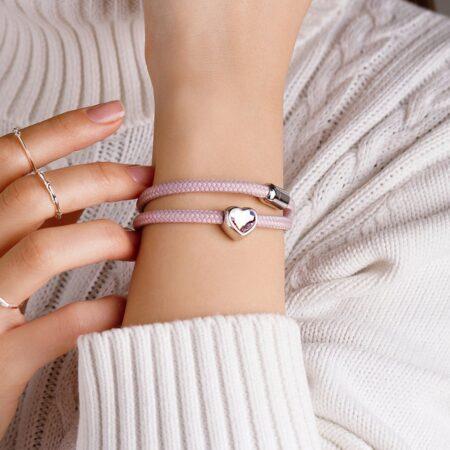 Двойной женский браслет розового цвета с камнем Swarovski — № 7160