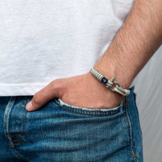 Серый-бежевый тонкий браслет для мужчин и женщин — № 804 фото 4