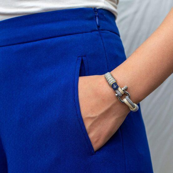 Серый-бежевый тонкий браслет для мужчин и женщин — № 804 фото 5