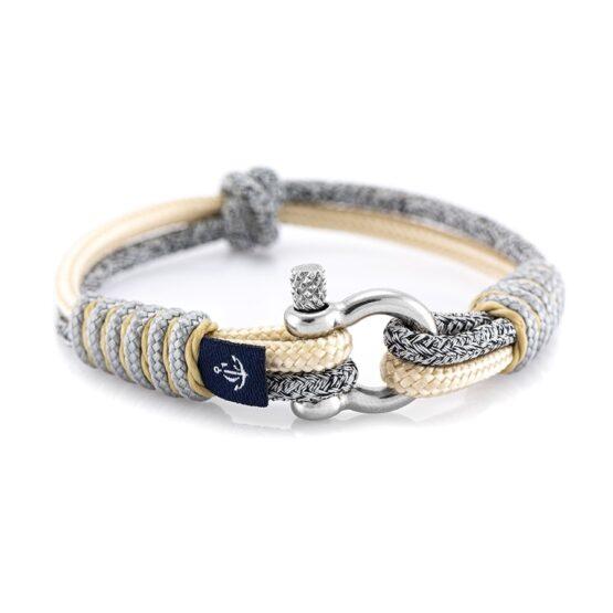 Тонкий серый-бежевый браслет для мужчин и женщин — № 804