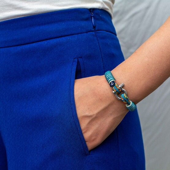 Комбинированный тонкий женский браслет — № 819