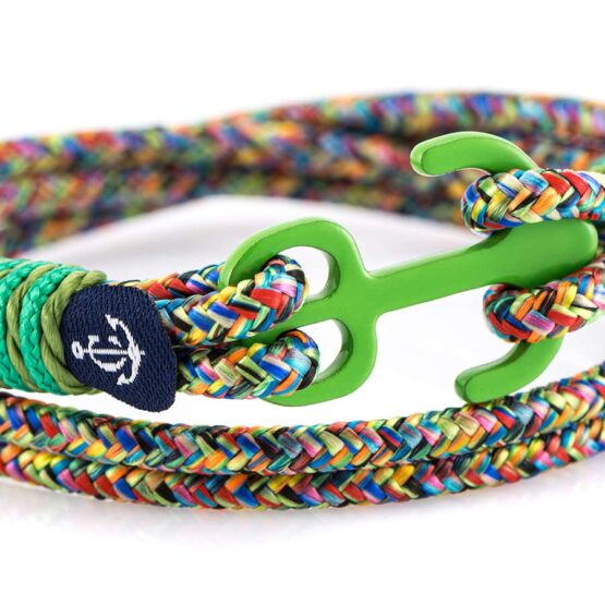 Двойной комбинированный зелёный браслет с якорем — № 9047