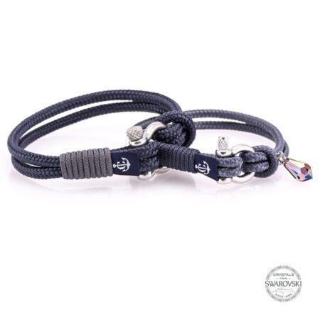 Парные браслеты для влюблённых синего цвета с камнем Swarovski  — № 912