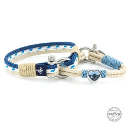 Парные браслеты для влюблённых с камнем Swarovski — № 916
