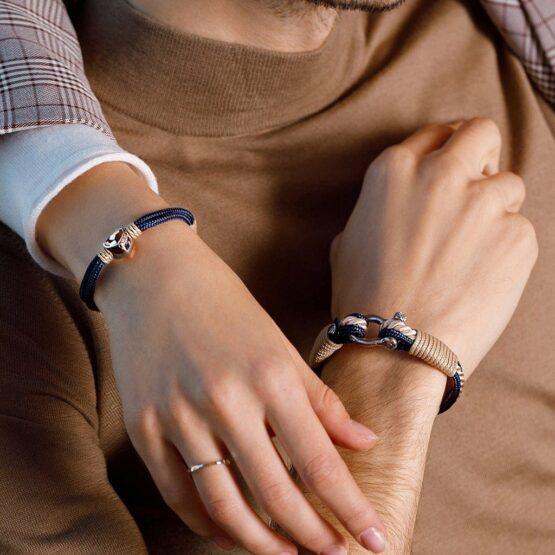 Парные браслеты в синем-бежевом цвете для влюбленных с кристаллом Swarovski — № 917