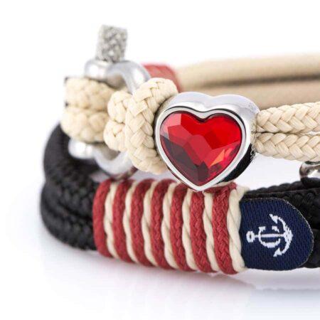 Парные браслеты для влюбленных с камнем Swarovski — № 928