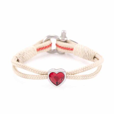 Браслет бежевого цвета с красным камнем Swarovski для женщин — № 7107