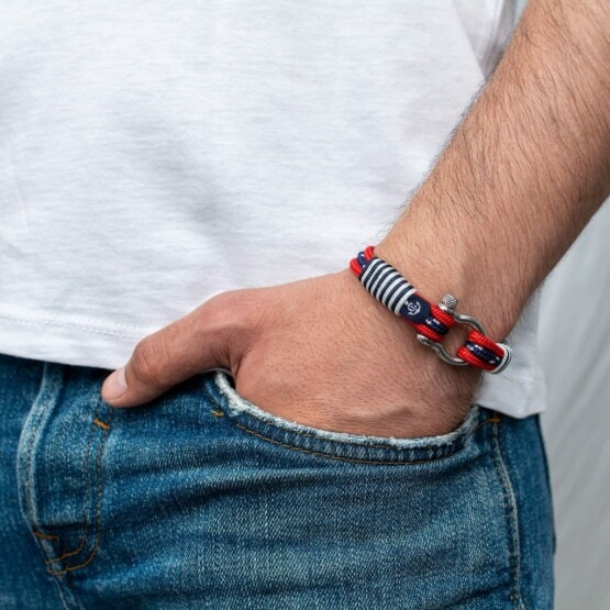 Браслет из красных и синих нитей для мужчин и женщин — № 5051 фото 4