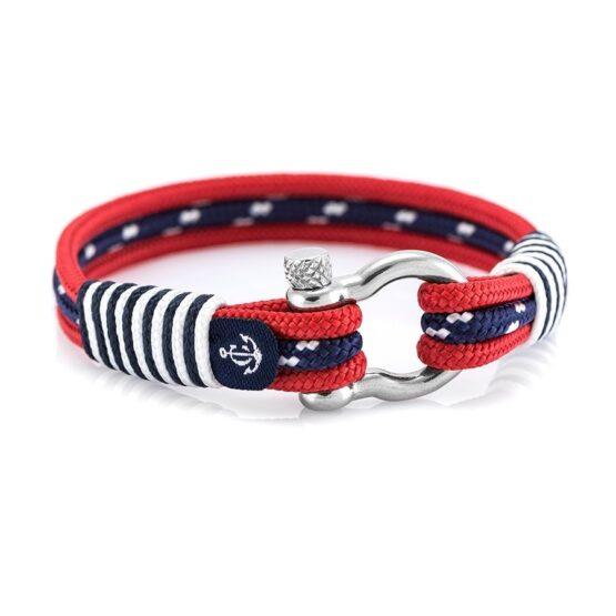 Морской красный браслет с синей нитью по середине — № 5051