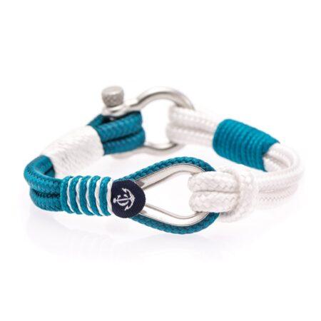 Белый-голубой браслет морской тематики — № 701