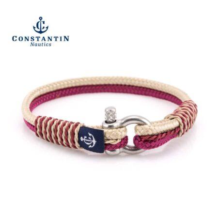 Тонкий бежево-бордовый женский браслет — № 813