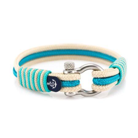 Морской браслет бежево-бирюзового цвета для мужчин и женщин — № 5091