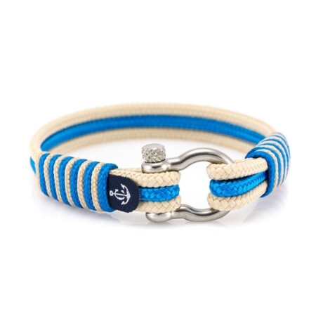 Морской браслет для мужчин и женщин бежево-синего цвета — № 5092