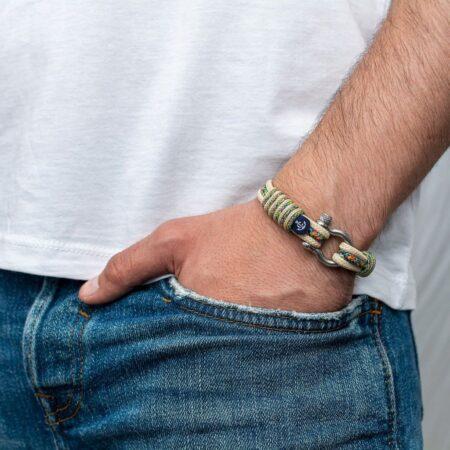 Бежевый браслет с цветным шнурком для мужчин и женщин — № 5099 фото 4