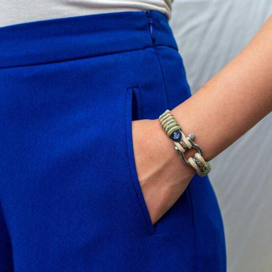 Бежевый браслет с цветным шнурком для мужчин и женщин — № 5099 фото 5