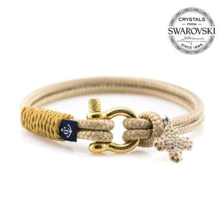 Бежевый женский браслет с золотым кристаллом Сваровски  — № 7181