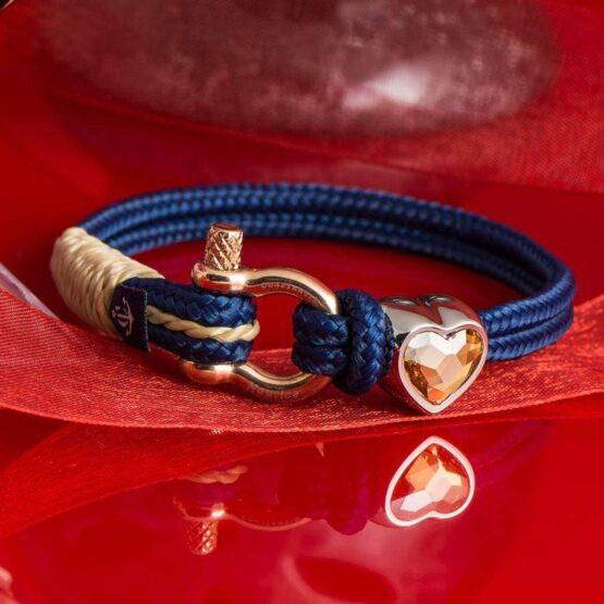 Синий женский браслет с камнем Сваровски кремового цвета — № 7182 фото 7
