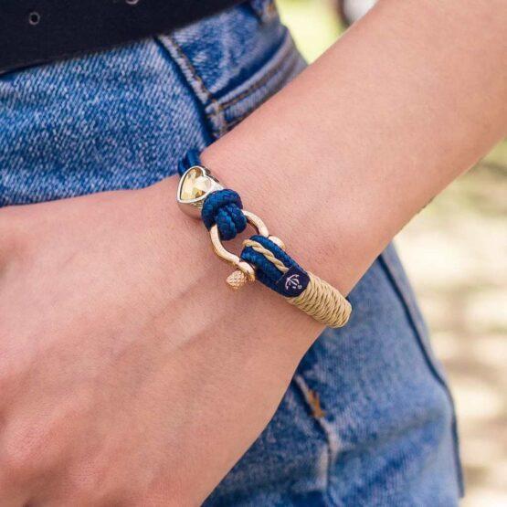 Синий женский браслет с камнем Сваровски кремового цвета — № 7182 фото 8