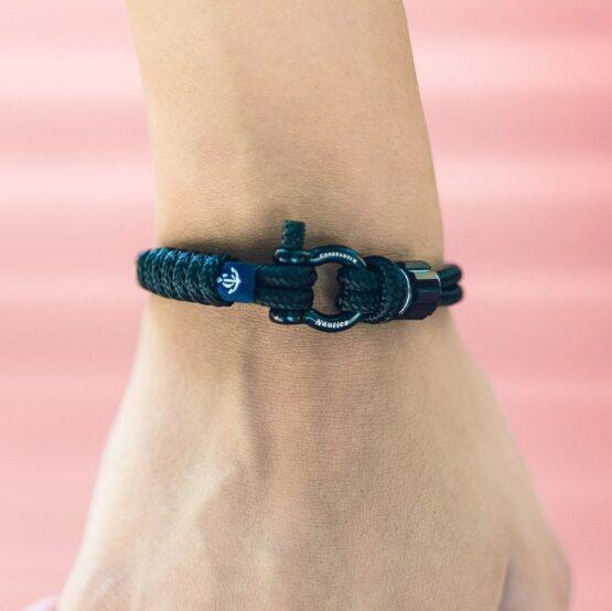 Чёрный браслет с чёрным кристаллом Сваровски для мужчин и женщин — № 7203