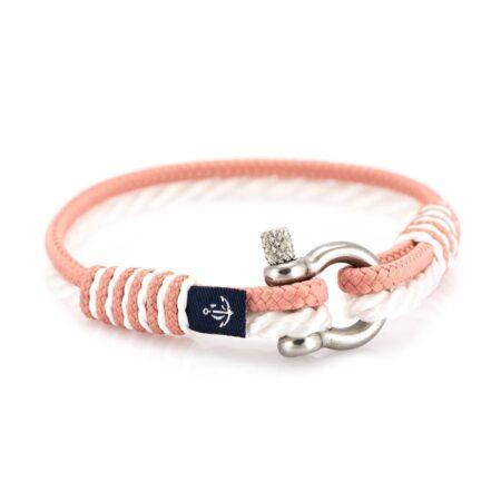 Тонкий персиковый и белый браслет для женщин  — № 836
