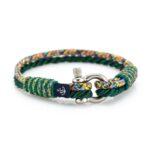 Комбинированный тонкий зелёный браслет для мужчин и женщин — № 838