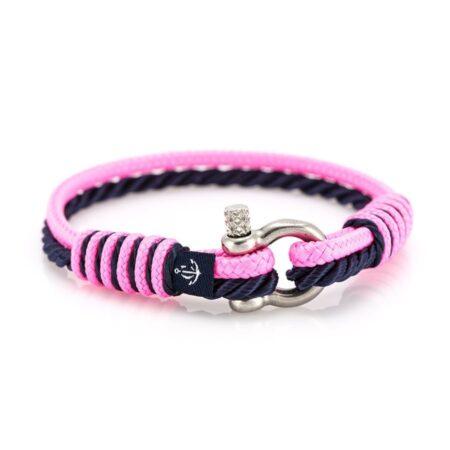 Розовый-Тёмно синий тонкий женский браслет  — SLIM 840