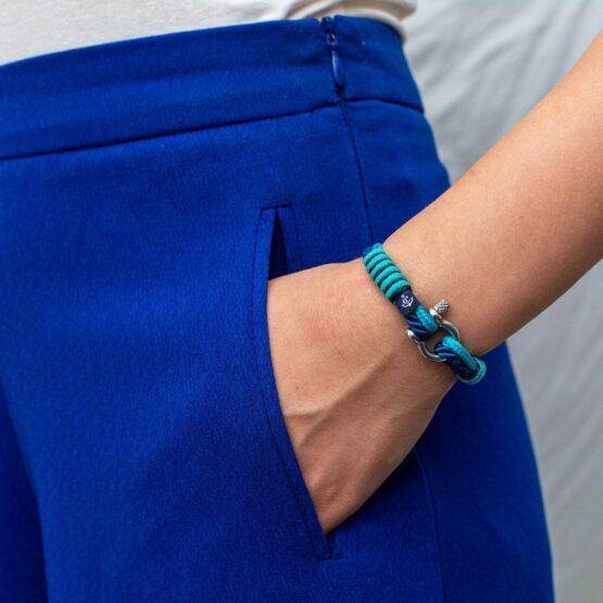 Женский ментоло-синий тонкий браслет — № 842 фото 5